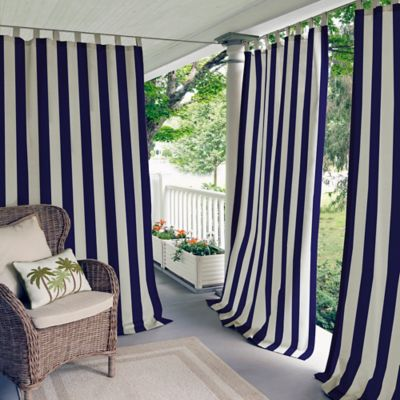 Elrene Highland Stripe 84-Inch Indoor/Outdoor Tab Top Window Curtain Panel in Navy