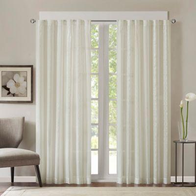 Halden Stripe 63-Inch Rod Pocket/Back Tab Window Curtain Panel in Natural