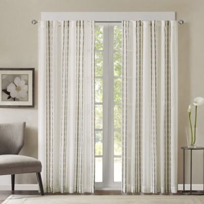 Halden Stripe 95-Inch Rod Pocket/Back Tab Window Curtain Panel in Natural