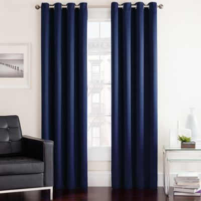 Navy Gray and Red Curtains