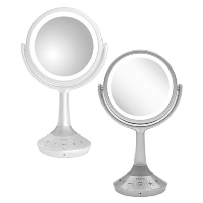 iHome® Portable Bluetooth® Double-Sided 6-Inch Vanity Mirror Speaker in White