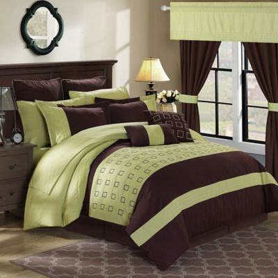 Chic Home Le Brun 25-Piece King Comforter Set in Green