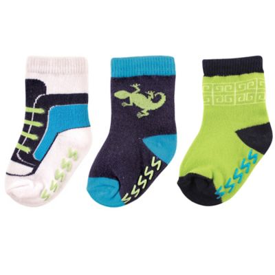 BabyVision® Yoga Sprout Size 0-6M 3-Pack Lizard Socks in Blue/Green