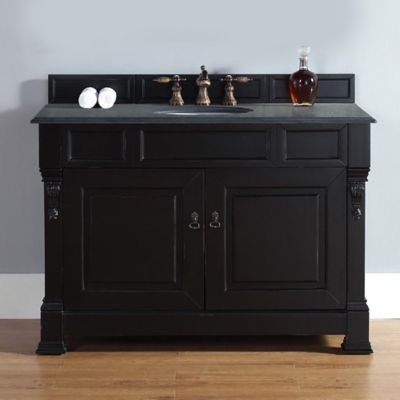 James Martin Furniture 48-Inch Single Vanity with Absolute Black Stone Top in Antique Black