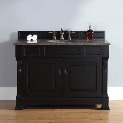 James Martin Furniture 48-Inch Single Vanity with Tropical Brown Stone Top in Antique Black