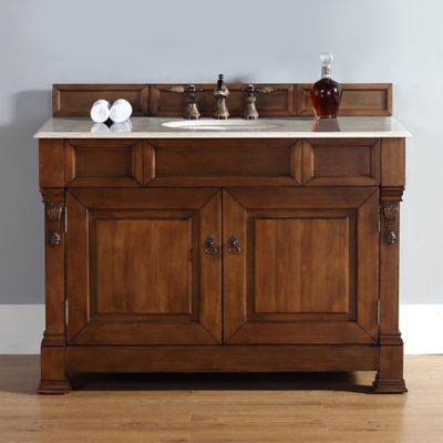 James Martin Furniture 48-Inch Single Vanity with Galala Beige Stone Top in Country Oak