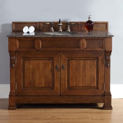 James Martin Furniture 48-Inch Single Vanity with Tropical Brown Stone Top in Country Oak