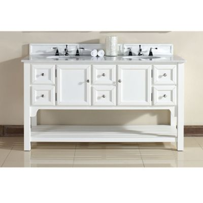 James Martin Furniture South Hampton 60-Inch Double Vanity with White Marble Top in Pure White