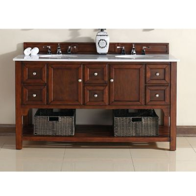 James Martin Furniture South Hampton 60-Inch Double Vanity with Guangxi Marble Top in Warm Cherry