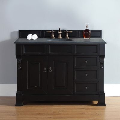 James Martin Furniture 48-Inch Single Vanity with Drawers and Black Stone Top in Antique Black
