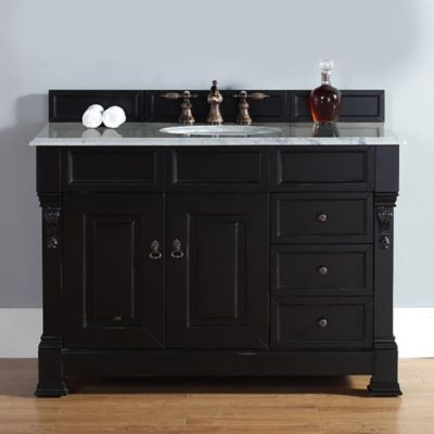 James Martin Furniture 48-Inch Single Vanity with Drawers and White Stone Top in Antique Black