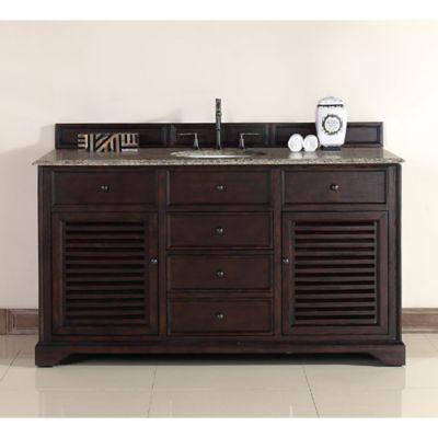 James Martin Furniture Savannah 60-Inch Single Vanity with Santa Cecilia Stone Top in Sable