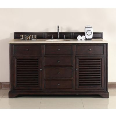 James Martin Furniture Savannah 60-Inch Single Vanity with Galala Beige Stone Top in Sable