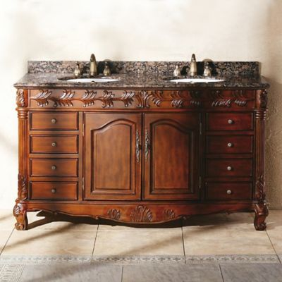 James Martin Furniture St. James 61. 5-Inch Double Vanity with Baltic Brown Granite Top in Cherry