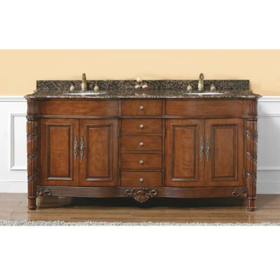 James Martin Furniture Florentine 72-Inch Double Vanity with Baltic Brown Stone Top in Cherry