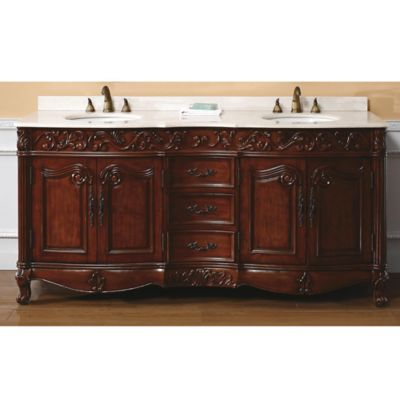 James Martin Furniture Embassy 72-Inch Double Vanity with Baltic Brown Stone Top in Dark Cherry