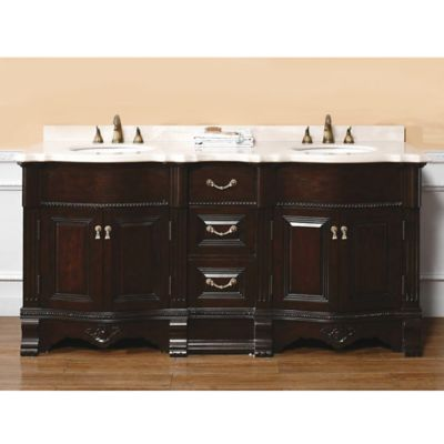 James Martin Furniture Westport 72-Inch Double Vanity with Marble Top in Dark Cherry