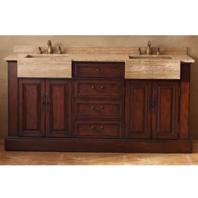 James Martin Furniture Boston 72-Inch Double Vanity with Travertine Stone Top in Cherry