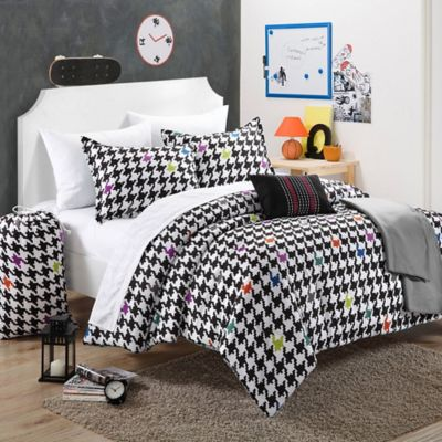 Chic Home Maya 7-Piece Twin Comforter Set in Black/White