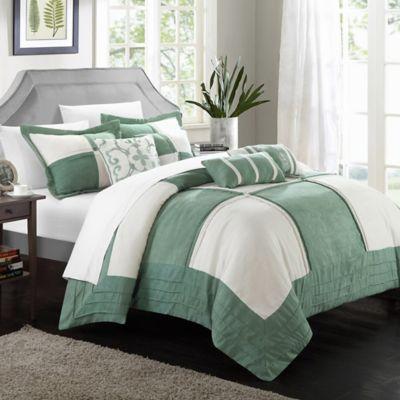 Chic Home Liam 7-Piece Queen Comforter Set in Green