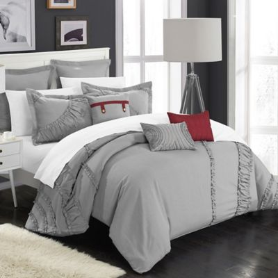 Chic Home Lucerne 12-Piece Queen Comforter Set in Silver