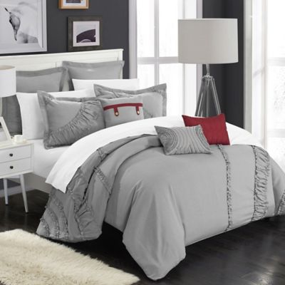 Chic Home Lucerne 8-Piece King Comforter Set in Silver