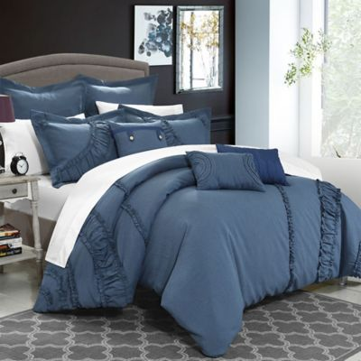 Chic Home Lucerne 8-Piece King Comforter Set in Blue