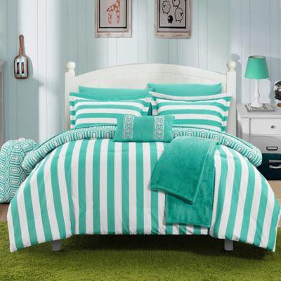 Chic Home Lyon 10-Piece Full Comforter Set in Aqua