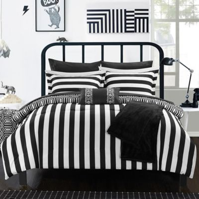 Chic Home Lyon 8-Piece Twin Comforter Set in Black