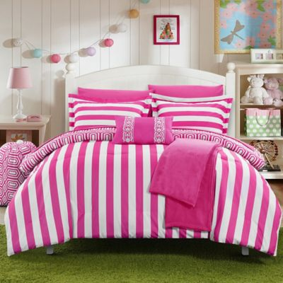 Chic Home Lyon 8-Piece Twin Comforter Set in Fuchsia