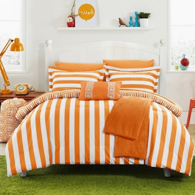 Chic Home Lyon 8-Piece Twin Comforter Set in Orange
