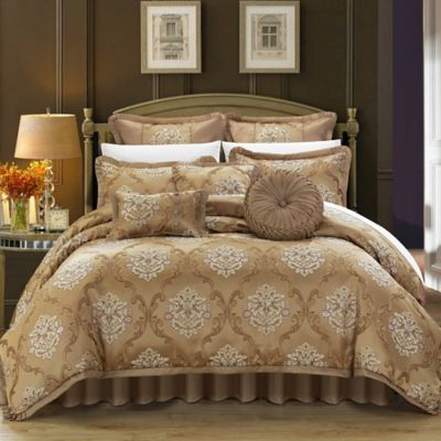 Chic Home Marchesi 9-Piece King Comforter Set in Gold