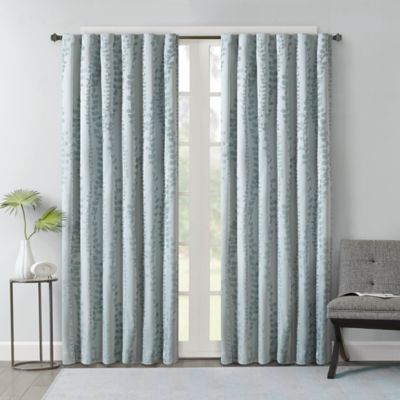 Brandy Leaf 63-Inch Rod Pocket/Back Tab Window Curtain Panel in Spa Blue