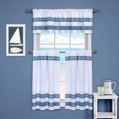 Ships and Chambray 24-Inch Kitchen Window Curtain Tier