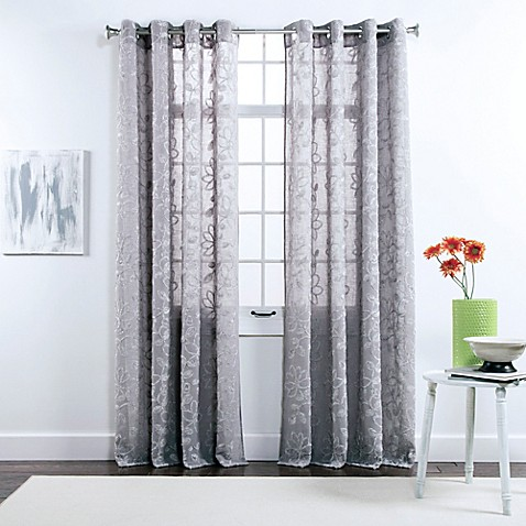 belle maison darcy 84 inch grommet top chenille embroidered window curtain panels www. Black Bedroom Furniture Sets. Home Design Ideas
