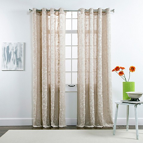 buy belle maison darcy 84 inch grommet top chenille embroidered window curtain panels in taupe. Black Bedroom Furniture Sets. Home Design Ideas