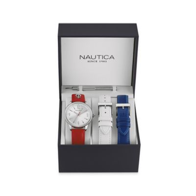 Nautica® Ladies' 38mm Silvertone Dial Watch in Stainless Steel with Leather Strap Box Set