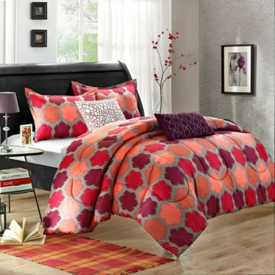 Chic Home Morgan 9-Piece King Comforter Set in Red