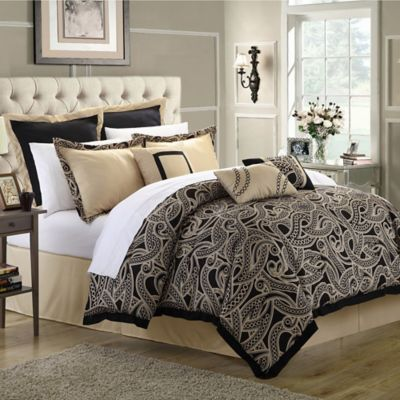 Chic Home Torento 12-Piece Queen Comforter Set in Black
