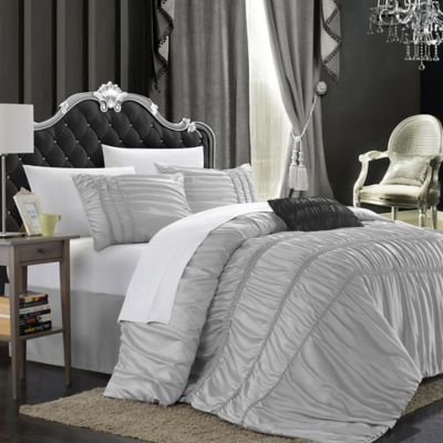 Chic Home Roning 9-Piece King Comforter Set in Silver
