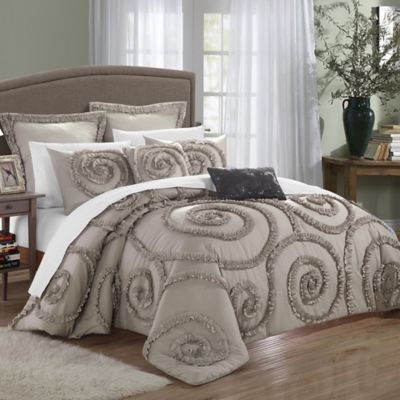Chic Home Rosalinda 11-Piece Queen Comforter Set in Taupe