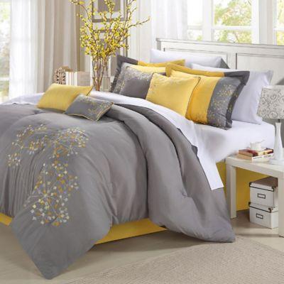 Chic Home Sakura 12-Piece Queen Comforter Set in Yellow