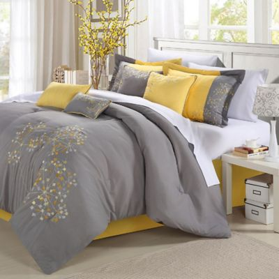 Chic Home Sakura 8-Piece Queen Comforter Set in Yellow