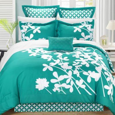 Chic Home Sire 7-Piece Reversible King Comforter Set in Turquoise