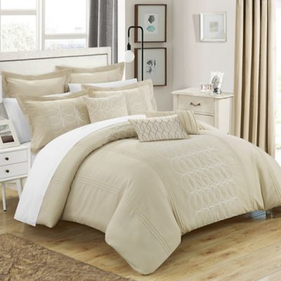 Chic Home Torriano 12-Piece Queen Comforter Set in Beige