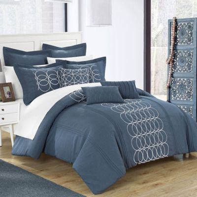 Chic Home Torriano 12-Piece King Comforter Set in Blue