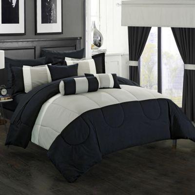 Chic Home Wanstead 20-Piece King Comforter Set in Black