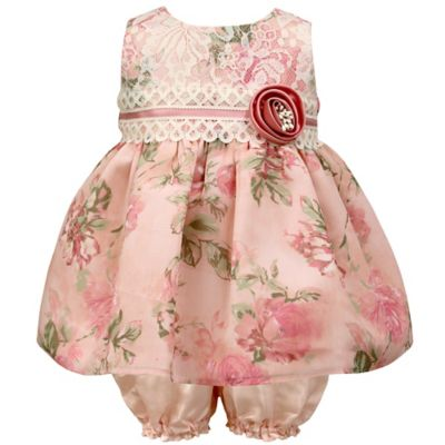 Jayne Copeland Size 3M 2-Piece Chiffon Print Lace Bodice Dress and Bloomer Set in Blush