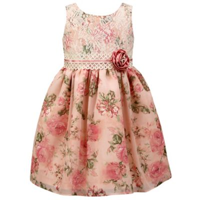 Jayne Copeland Size 4T Chiffon Print Lace Bodice Dress in Blush