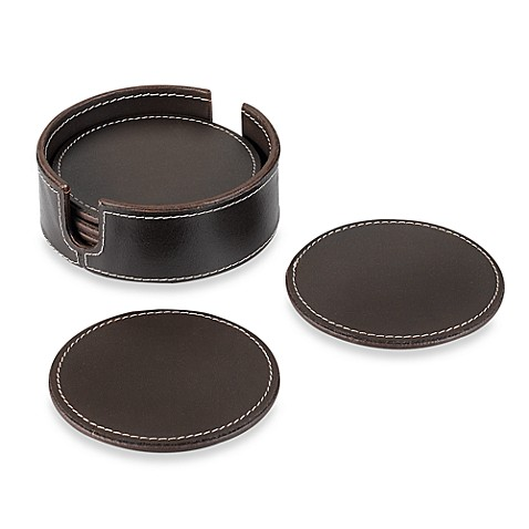 Dark Brown Genuine Leather Coasters With Caddy (Set of 6)